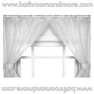 Super  Clear Double Swag Vinyl Bathroom Window Curtain w/ Tie Backs