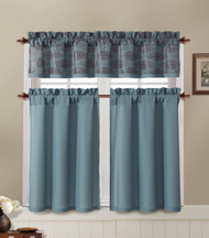 Blue and Brown Kitchen Window Curtain Set : 2 Tier Panel Curtain, 1 Alligator Print Valance