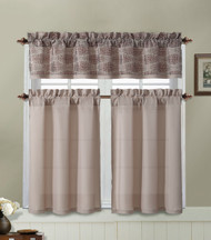 Taupe and Chocolate Brown Kitchen Window Curtain Set : 2 Tier Panel Curtain, 1 Alligator Print Valance