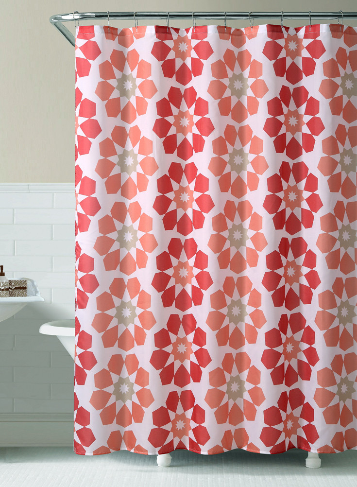Red And Rust Geometric Flowers Printed Fabric Shower