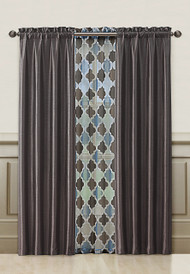 Chocolate Brown and Blue Window Treatment Set : 2 Faux Silk Panels and 1 Printed Voile/sheer Panel