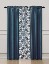 Blue and Brown 3 Piece Coordinated Window Treatment Set : 2 Faux Silk Panels and 1 Printed Voile/sheer Panel