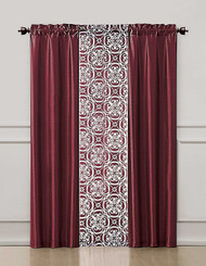 Burgundy Red 3 Piece Coordinated Window Treatment Set : 2 Faux Silk Panels and 1 Printed Voile/sheer Panel