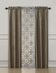 Taupe 3 Piece Coordinated Window Treatment Set : 2 Faux Silk Panels and 1 Printed Voile/sheer Panel