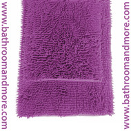 "Purple 2 Piece High Pile Microfiber Bath Mat Rug Set 20"" x 32"" and 17""x 24"""