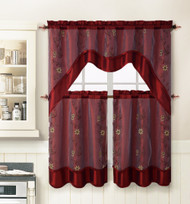 Burgundy 3 Piece Kitchen Window Curtain Treatment Set: 2 Layer, Embroidered Sheer Design, 2 Tiers and 1 Valance