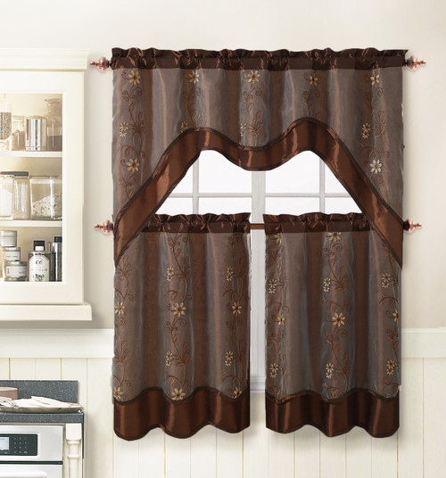 Chocolate 3 Piece Kitchen Window Curtain Treatment Set 2