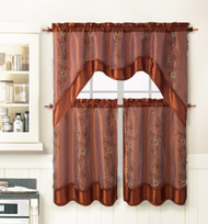 CINNAMON 3 Piece Kitchen Window Curtain Treatment Set: 2 Layer, Embroidered Sheer Design, 2 Tiers and 1 Valance