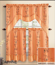 Orange 3 Piece Kitchen Window Curtain Treatment Set: 2 Layer, Embroidered Sheer Design, 2 Tiers and 1 Valance