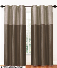 Chocolate Brown 2 Panel Fabric Window Curtain Set: Metal Grommets