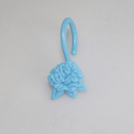 Blue Shower Curtain Hooks/Rings: ROSE Flower