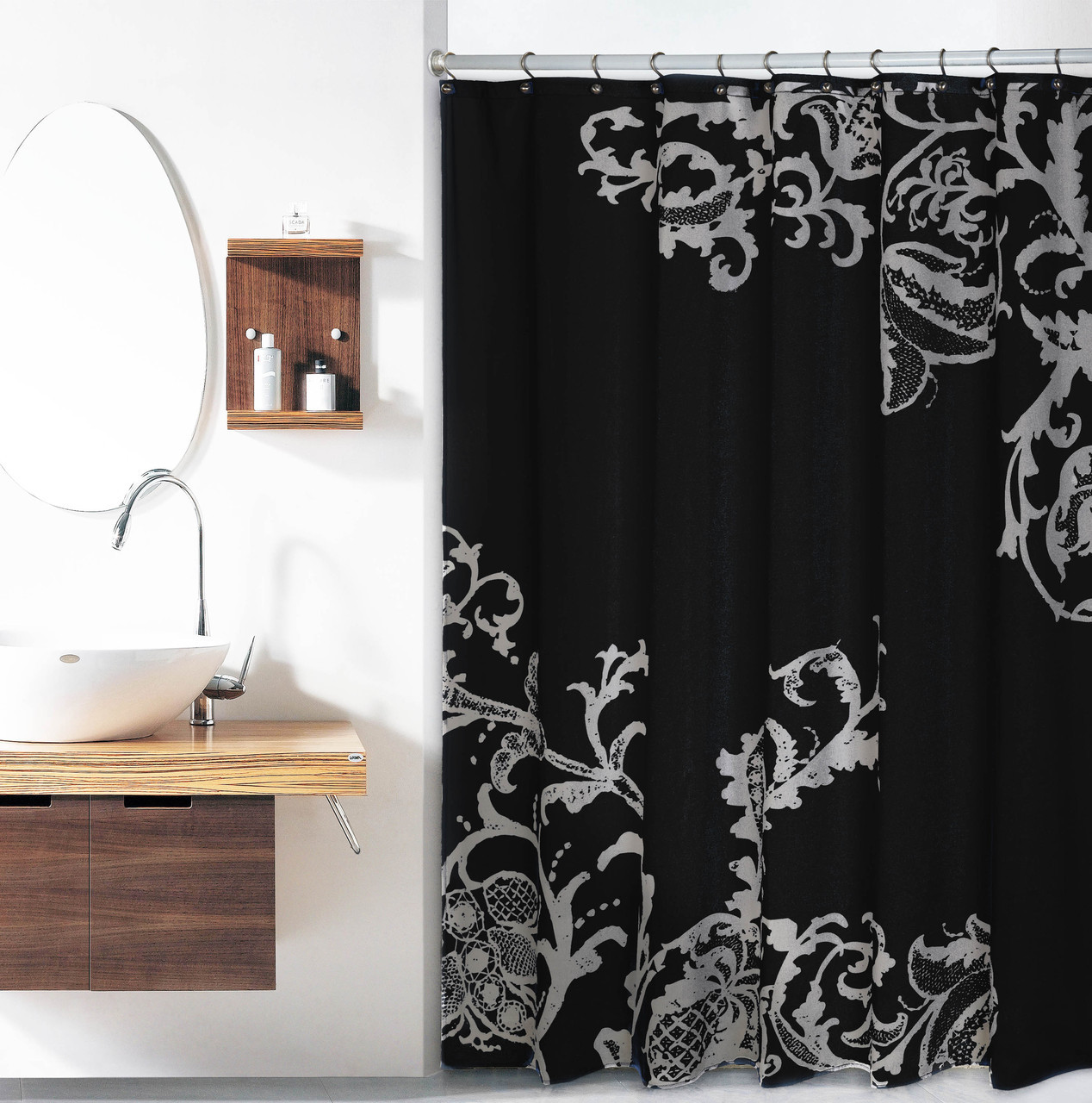 Black Luxury Fabric Shower Curtain With Gray Floral Pattern