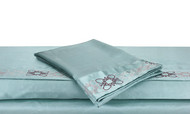 Blue Silky Soft Embroidered Satin Bed Sheet Set King or Queen