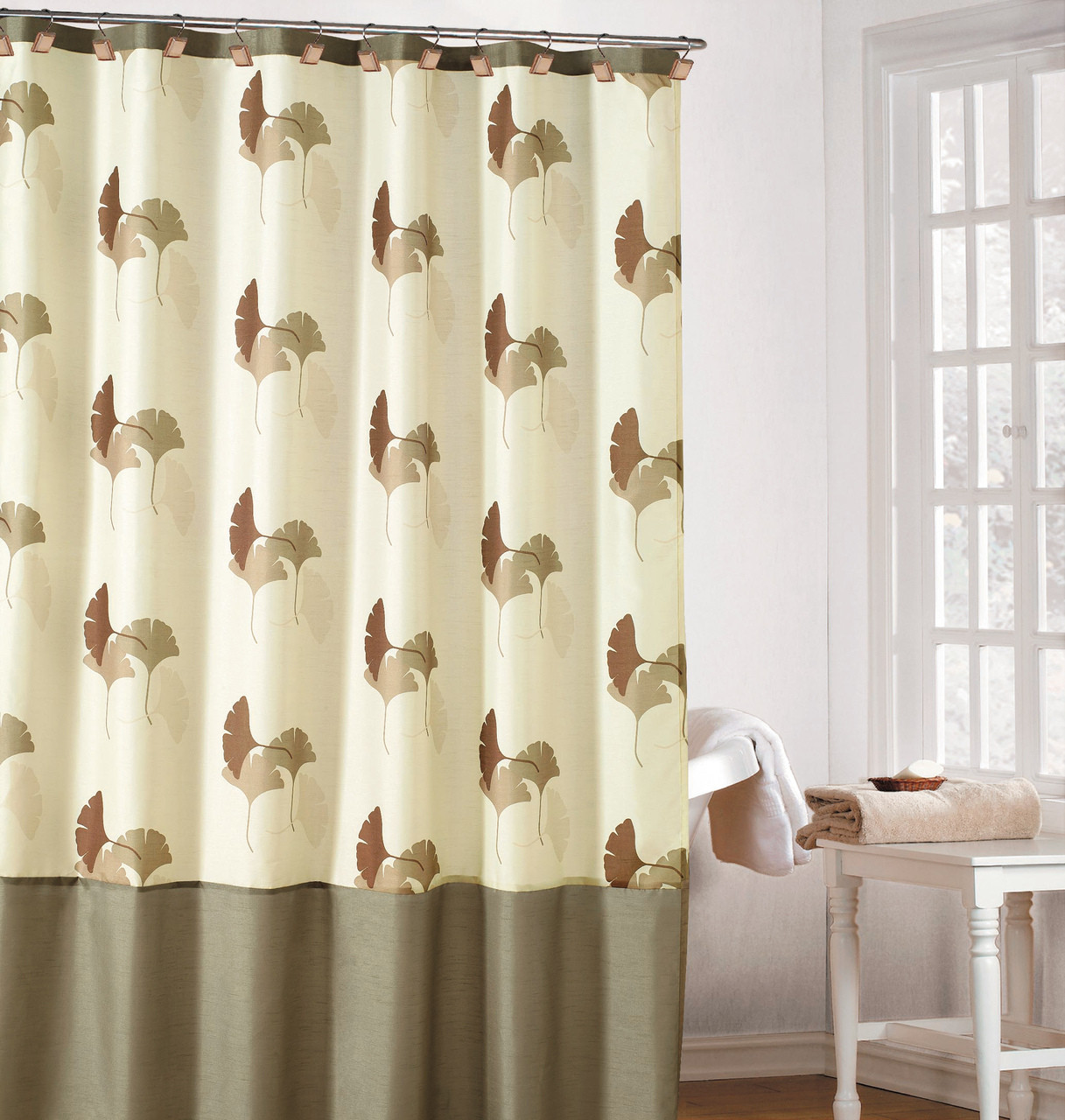 Earthy Cream Color Fabric Shower Curtain With Brown Taupe And Beige Gingko Leaf Design