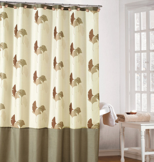 Earthy Cream Color Fabric Shower Curtain With Brown Taupe