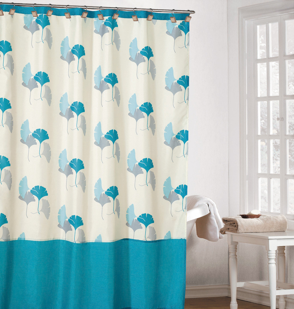Refreshing Off White Color Fabric Shower Curtain With Light Blue