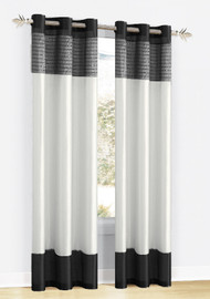 """One Black, White, and Silver/Gray Sequined Window Panel Curtain with Metal Grommets  Size:  54""""x84"""""""