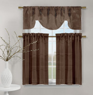 3 Piece Set of Embroidered Kitchen Window Panels - Chocolate