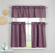 3 Piece Faux Cotton Plum Purple Kitchen Window Curtain Panel Set with 1 Valance and 2 Tier Panel Curtains