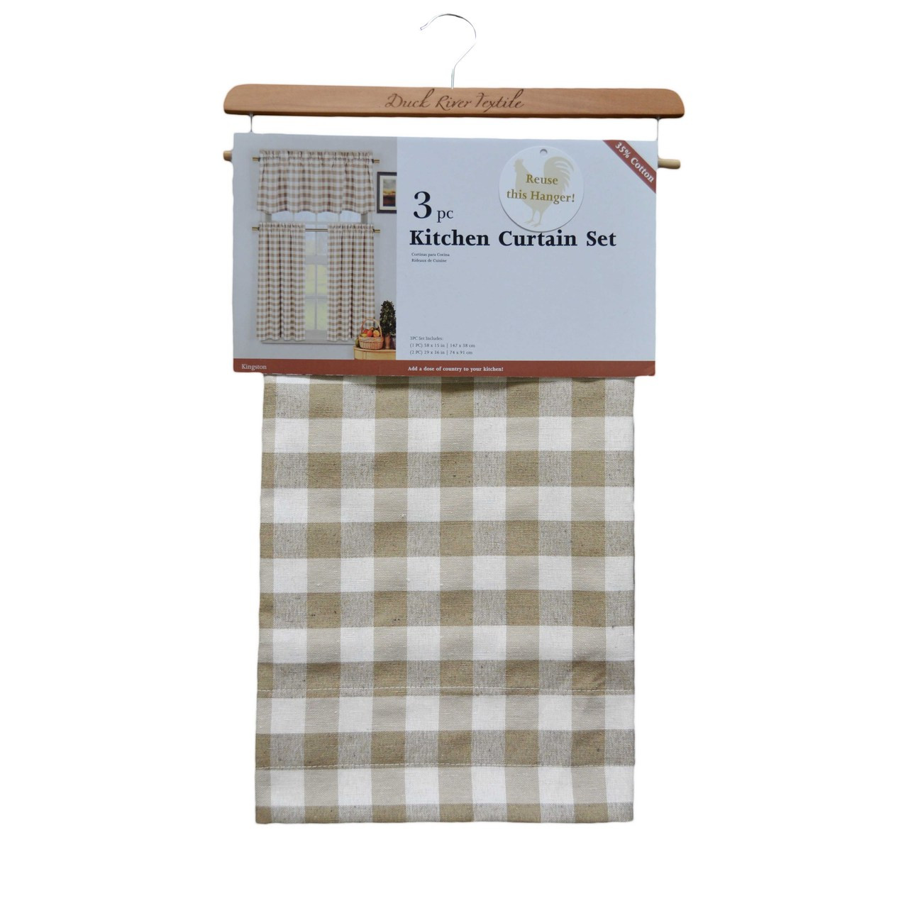 Taupe Plaid Gingham Check Kitchen Window Curtain Set