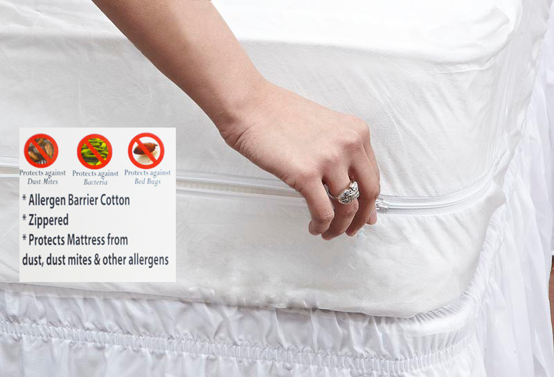 Stain Resistant Zippered 100 Cotton Mattress Protector With