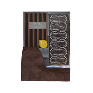 3 PC Bath Set with Brown Fabric Shower Curtain 12 Roller Ball Shower Hooks and Clear Vinyl Shower Liner