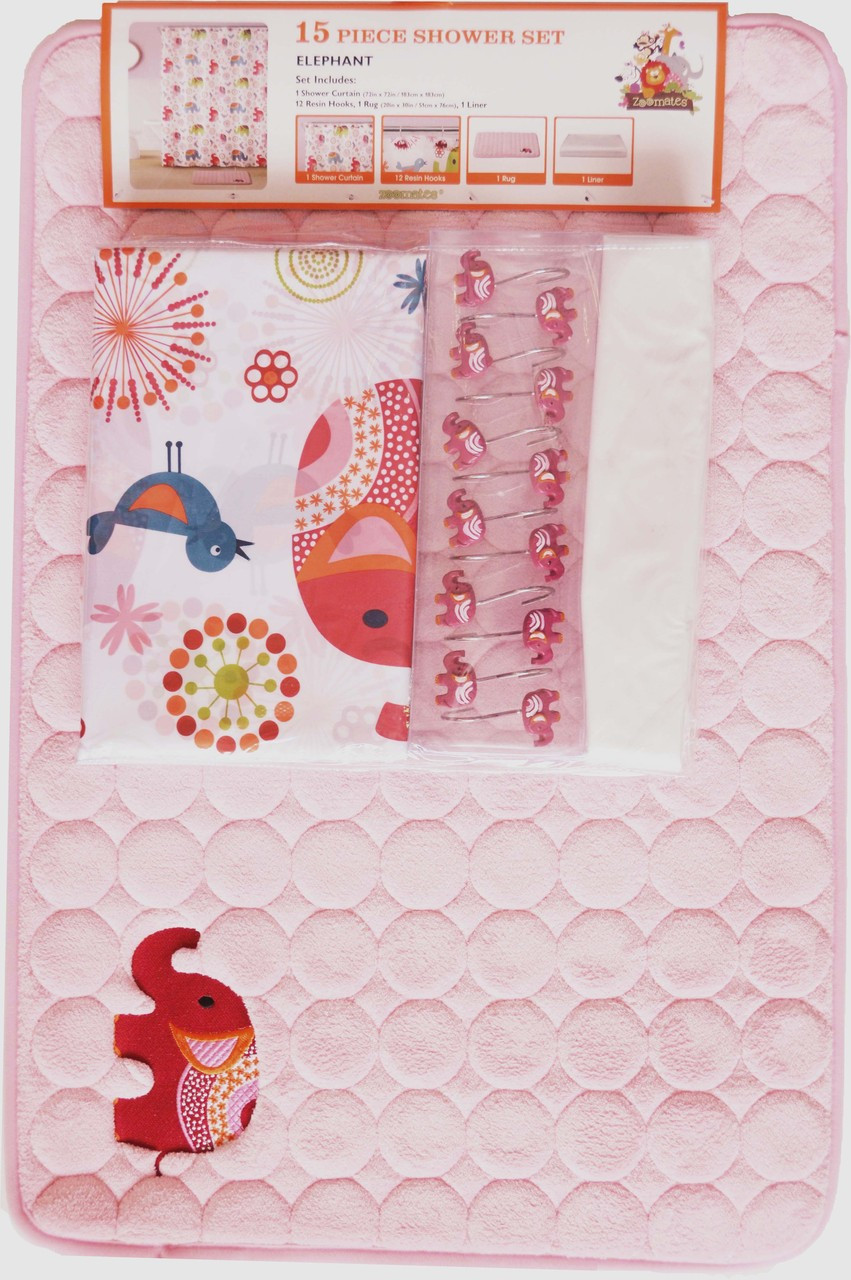 Pink Kid S Elephant Theme Bathroom Set With Matching Non