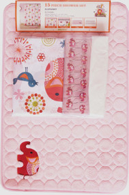 Pink Kid's Elephant Theme Bathroom Set with Matching Non-Skid Bath Mat, Shower Curtain, Resin Hooks, and Liner