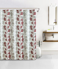 Rust and Taupe Stems and Leaves Pattern Over Ivory Background Bath Set Waffle Fabric Shower Curtain with 12 Silver Rollerball Hooks