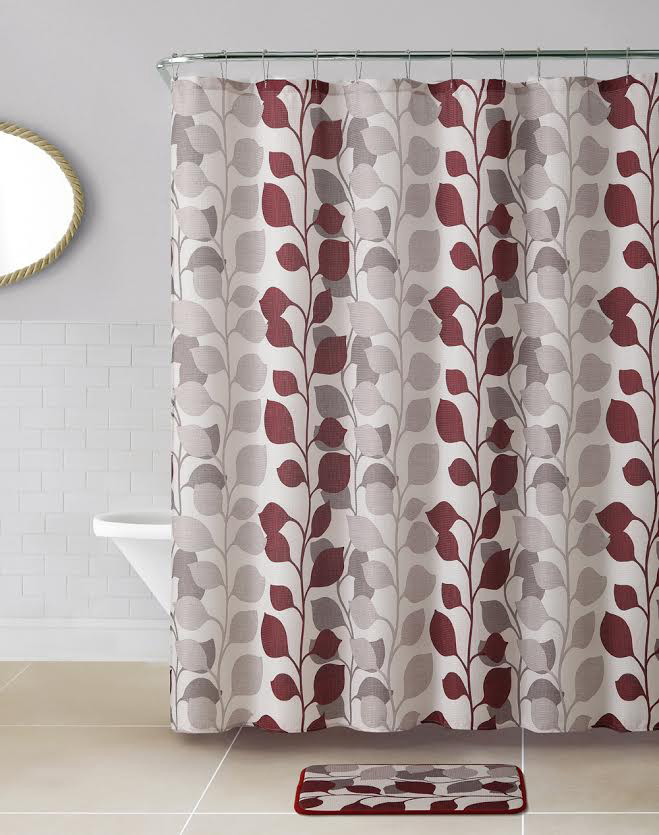 14 PC Waffle Fabric Shower Curtain Rust And Taupe Stems Leaves