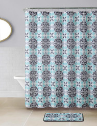 14 PC Blue, Gray, and Charcoal Kaleidoscope Bath Set Design Waffle Fabric Shower Curtain with Matching Bathroom Mat and 12 Silver Rollerball Hooks