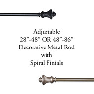 Adjustable Window Curtain Drapery ROD Set with Spiral Decorative Finials Includes Hardware (Glossy Taupe OR Black)