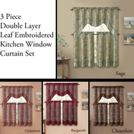 3 Piece Double Layer Leaf Embroidered Kitchen Window Curtain Set with Valance
