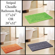 2-tone Chenille Bathroom Mat/area Rug in 2 Sizes: Non-skid, Lime, Green, Gray, Black, Orange