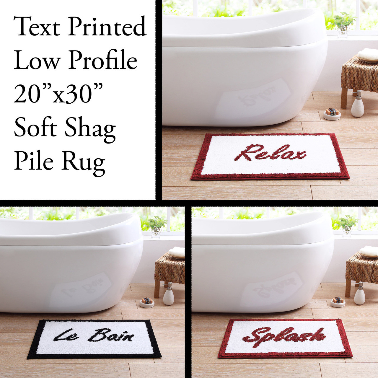 Low Pile 20 X30 Text Printed Bath Rug With Non Slip Backing Le