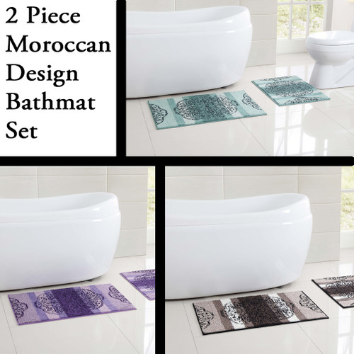 2 Piece Low Pile Plush Bath Rug Set With Moroccan Design And Non