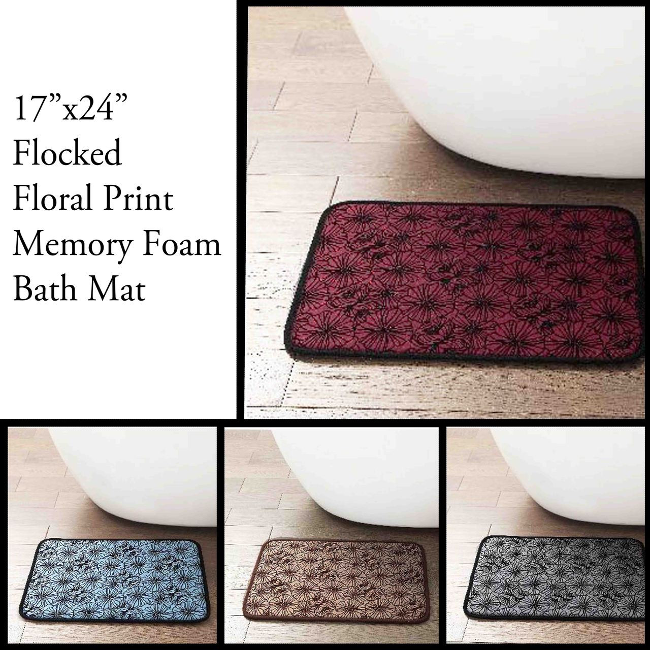 Memory Foam Bath Mat Area Rug With Flocked Floral Pattern 17 X 24