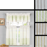 3 Piece Embroidered Sheer Kitchen Window Curtain Set with 1 Tasseled Valance and 2 Tier Panel Curtains