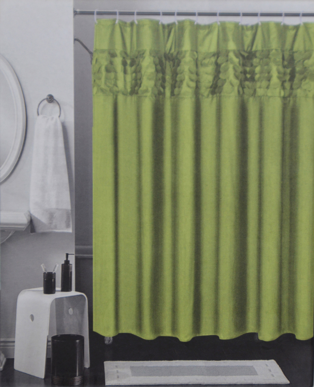 Solid Color Fabric Shower Curtain With 3D Design Circle Pattern Band