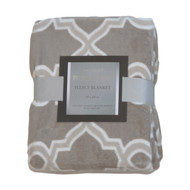 Printed Plush Fleece Throw Blanket: 50in x 60in Geometric Taupe and White
