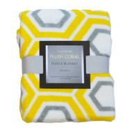 Printed Plush Fleece Throw Blanket: 50in x 60in Geometric Yellow and Gray