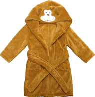 Kids Hooded Animal Bath Robe  Size: 4T - 6T - Brown Monkey