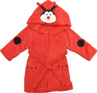 Kids Hooded Animal Bath Robe  Size: 4T - 6T - Red Ladybug with Black Dots