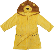 Kids Hooded Animal Bath Robe  Size: 4T - 6T - Yellow Lion with Brown Mane Hood