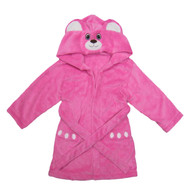 Kids Hooded Animal Bath Robe  Size: 4T - 6T - Pink Bear