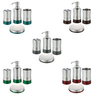Stainless Steel Bath Set: Soap Dispenser, Toothbrush Holder, Soap Dish, Tumbler