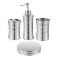 Matte Ribbed Stainless Steel Bath Set: Soap Dispenser & Dish, Toothbrush Holder, Tumbler
