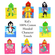 100% Cotton Kid's/Children's Hooded Bath/Beach Character Towel