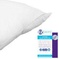 EZ Dreams Queen Size 100% Cotton Pillow Protector: 200 Thread Count, Zippered