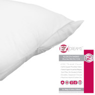 EZ Dreams Allergen Barrier Zippered Pillow Protector: 230 Count Microfiber, Queen Siz